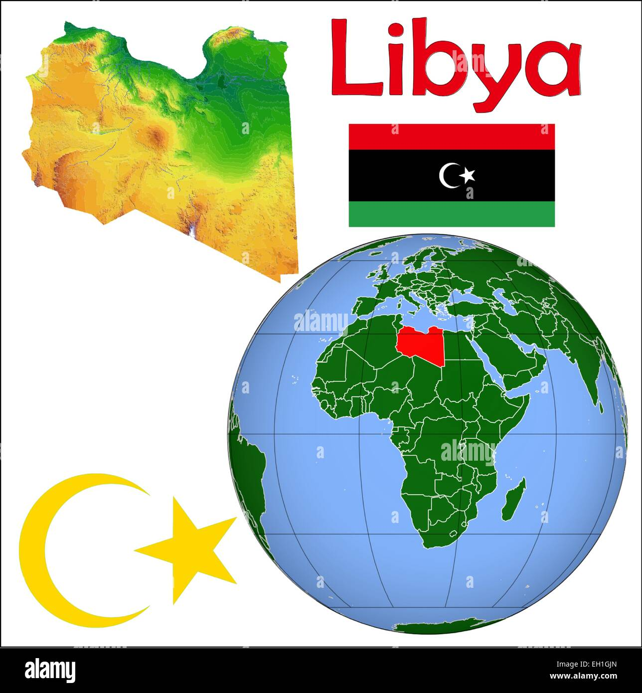 Libya globe location Stock Vector Art Illustration Vector Image
