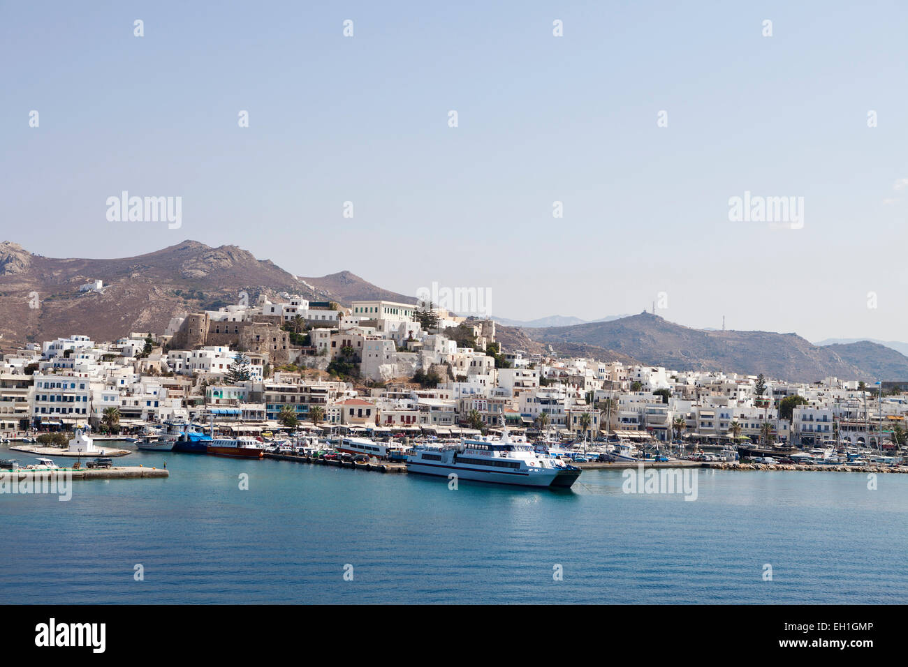 Naxos port,Town. View from a ferry as approaches the harbor - Stock Image