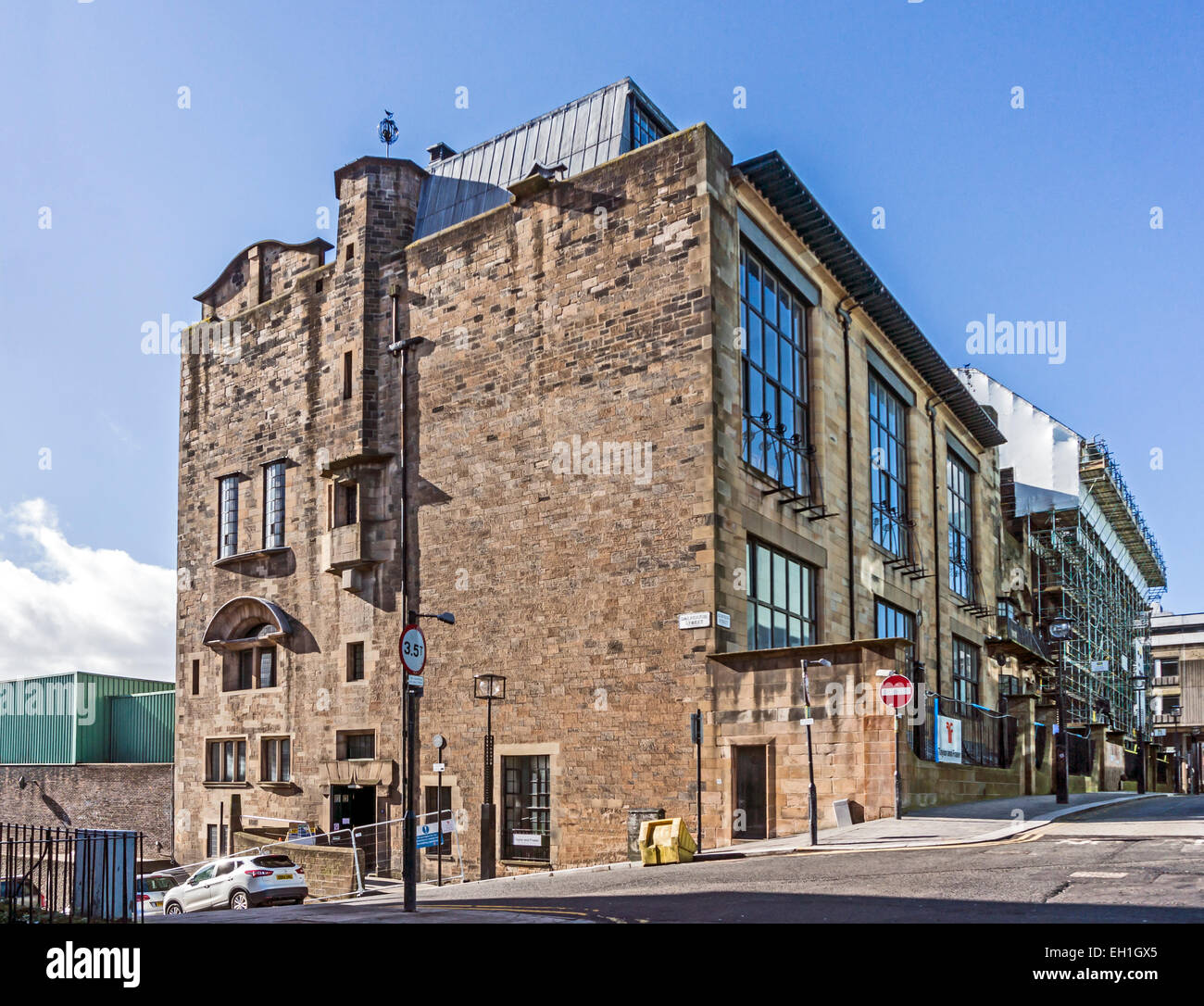 Scaffolding on the Glasgow School of Art building in Renfrew Street Glasgow Scotland between the two fires Stock Photo