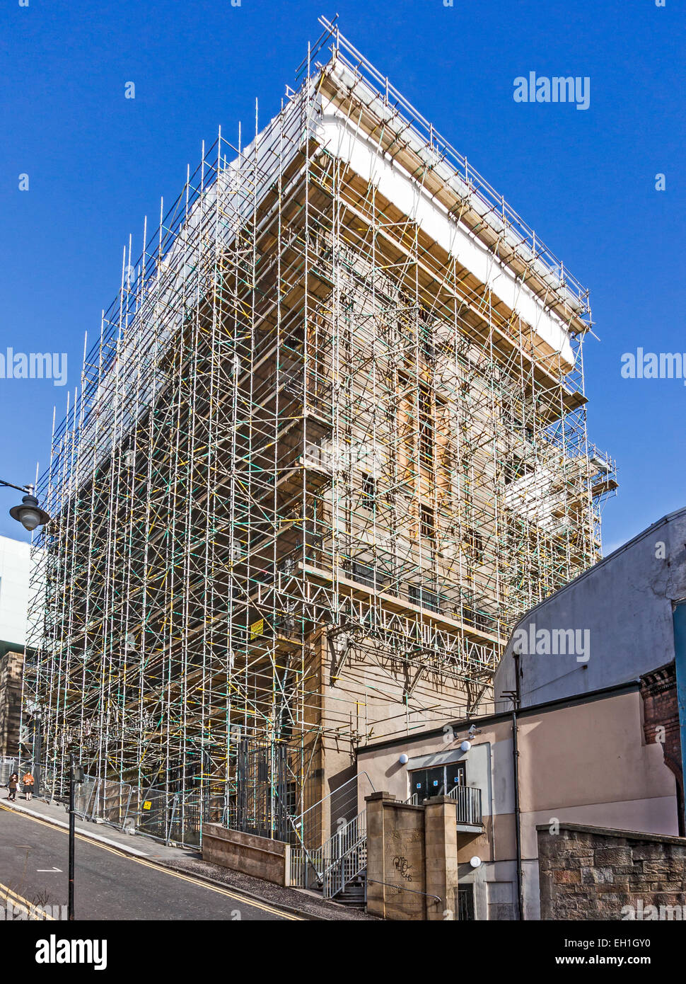 Scaffolding on the Glasgow School of Art building in Renfrew Street Glasgow Scotland btween the two fires - Stock Image