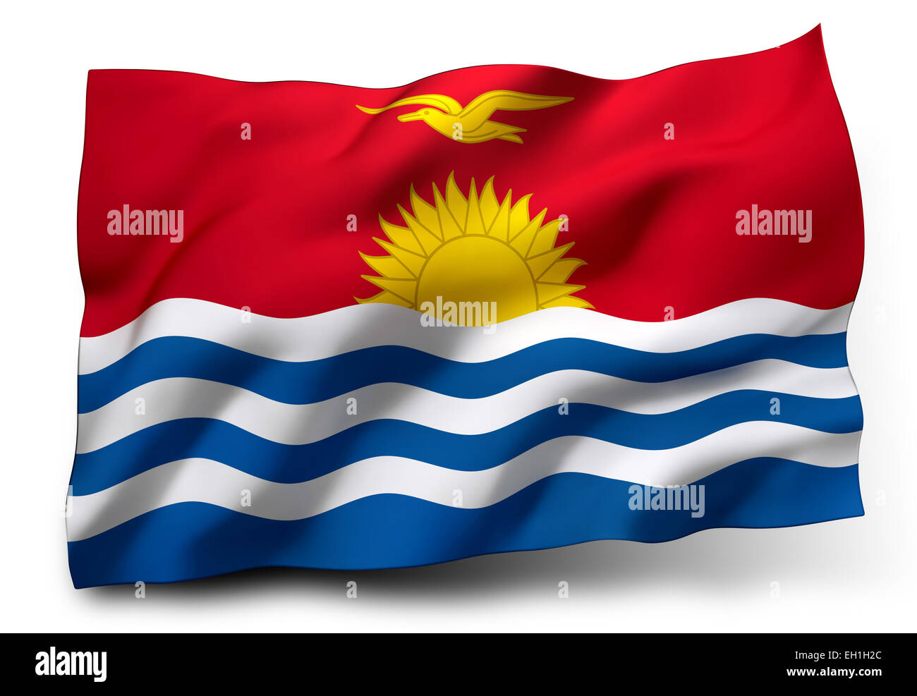 Waving flag of Kiribati isolated on white background - Stock Image