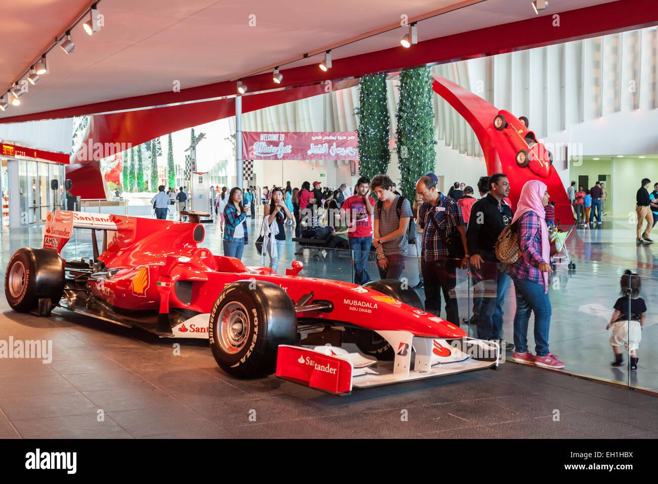Formula One racing car at the Ferrari World Theme Park. December 19, 2014 in Abu Dhabi, United Arab Emirates - Stock Image