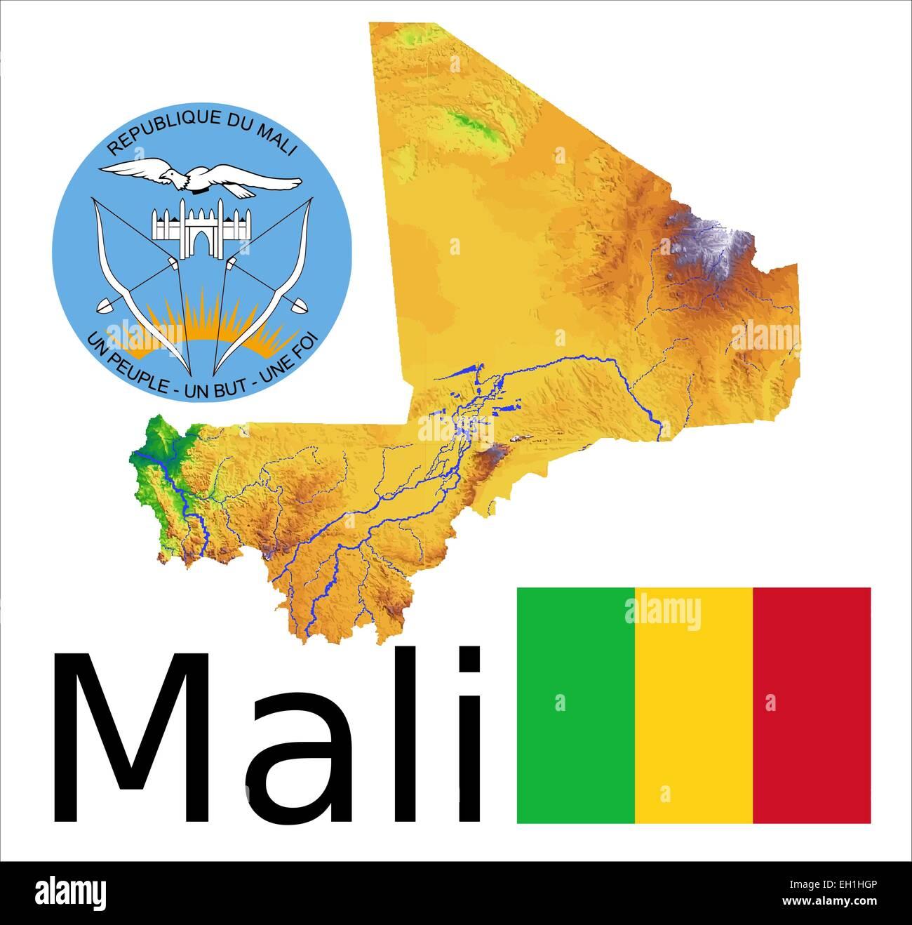 Mali map flag coat Stock Vector Art & Illustration, Vector Image ...