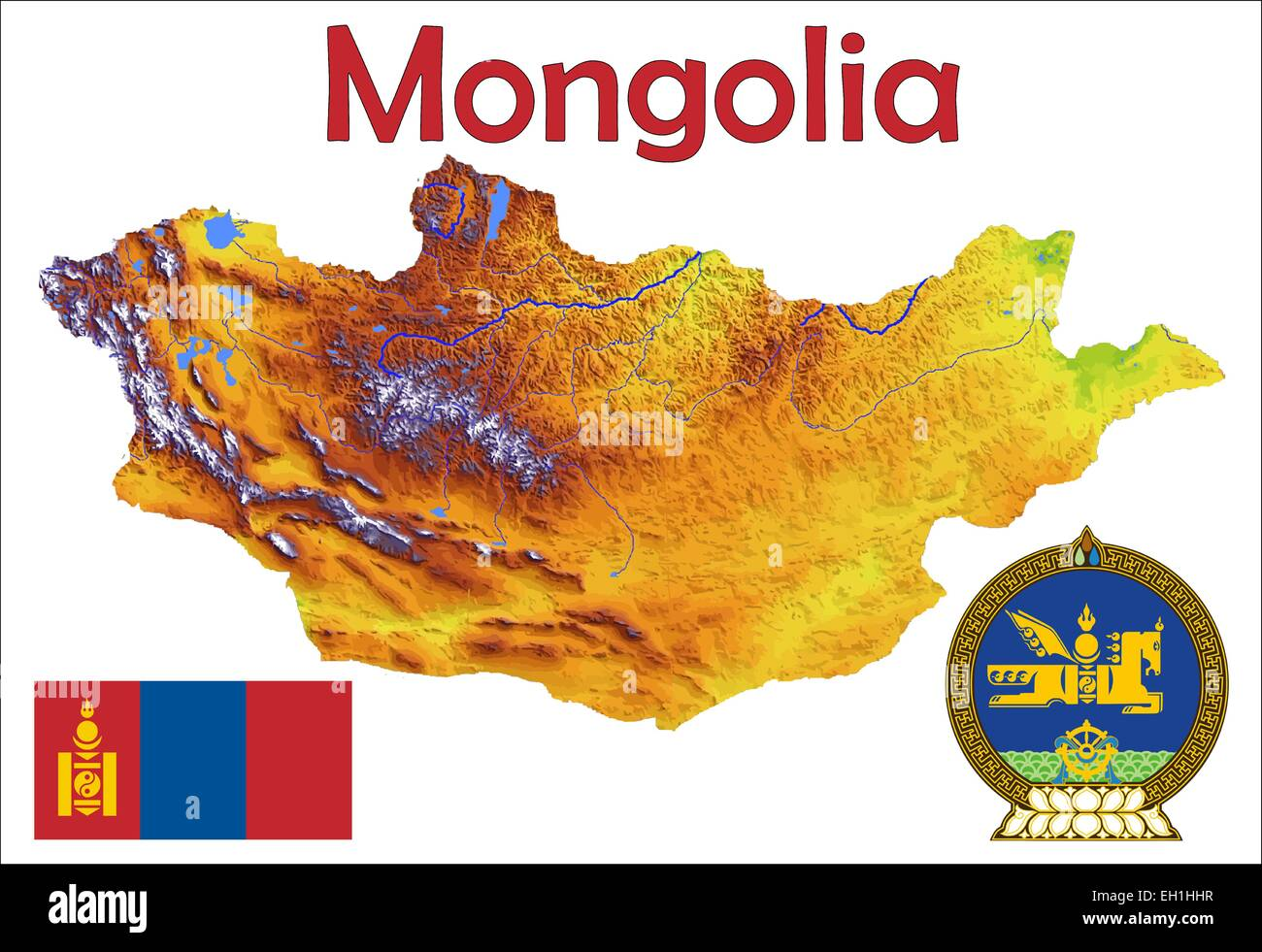 Mongolia map flag coat - Stock Image