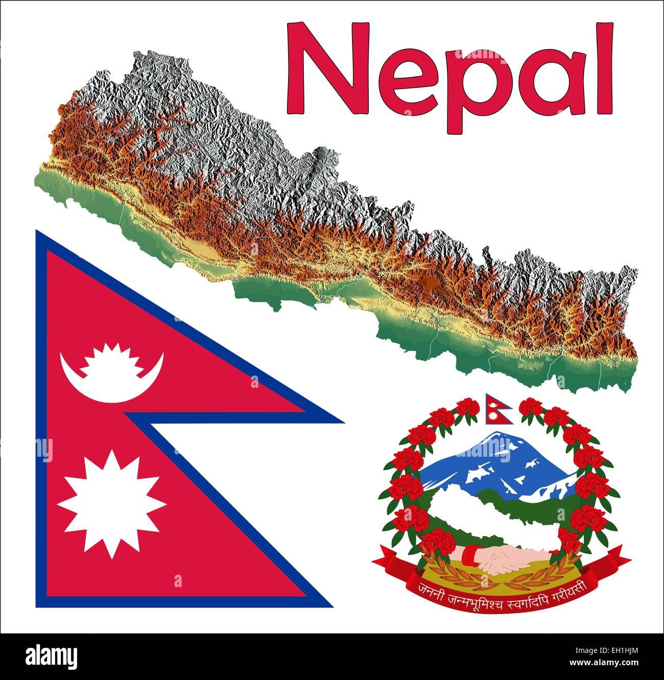 Nepal map flag coat Stock Vector Art & Illustration, Vector ...