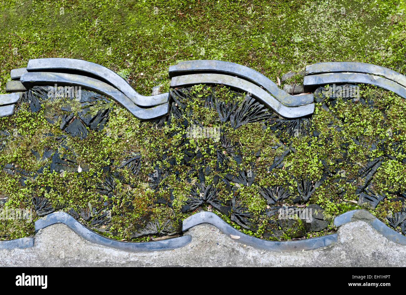 Koto-in Zen Buddhist temple, Daitoku-ji, Kyoto, Japan. A decorative edging of tiles set into the moss covered ground - Stock Image