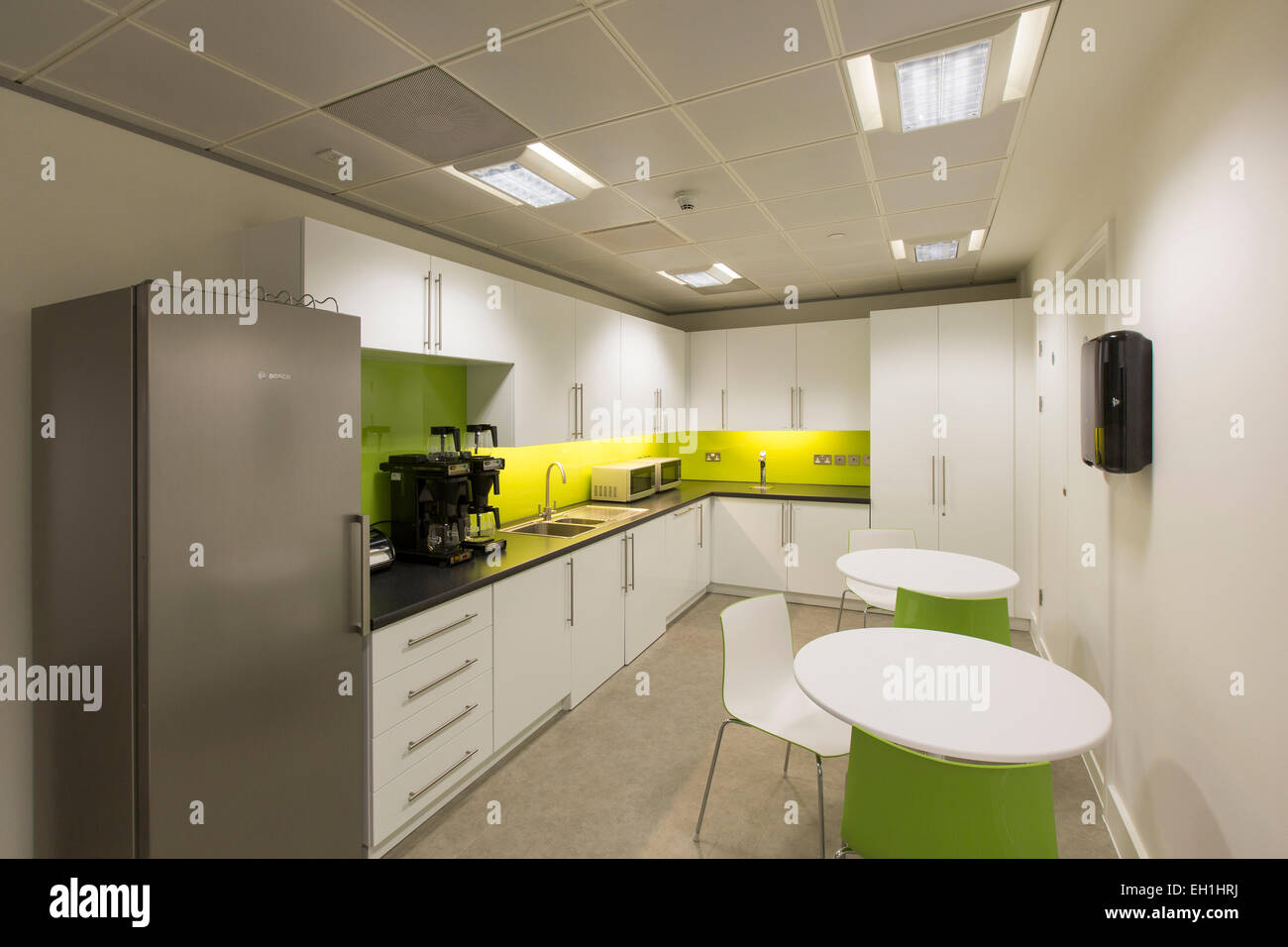 Modern office interior with kitchen facilities - Stock Image