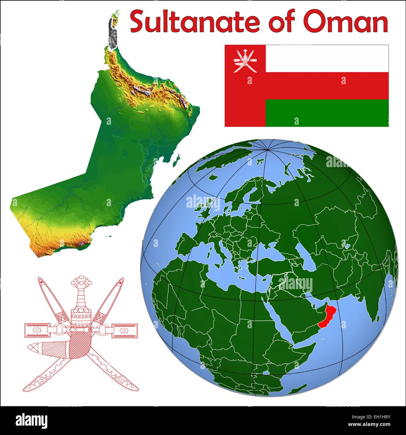 Oman globe location Stock Vector Art Illustration Vector Image