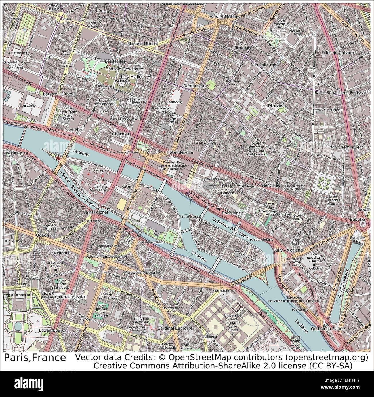 Paris France city map Stock Vector Art & Illustration, Vector Image on