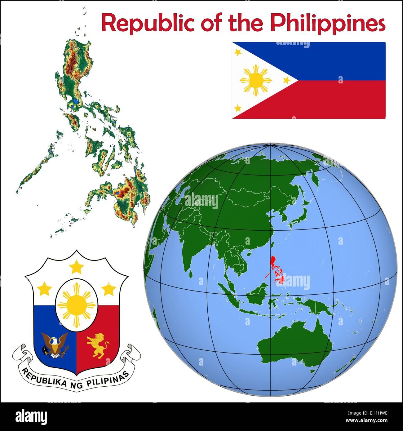 Philippines globe location Stock Vector