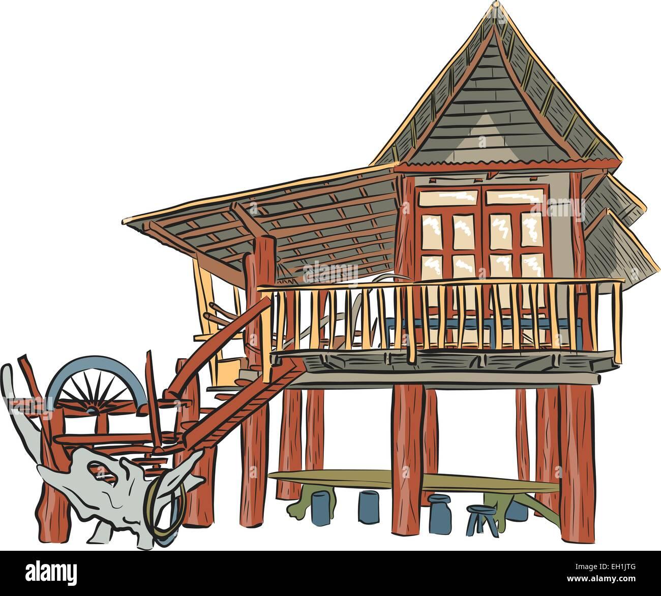 Editable vector sketch of a rustic wooden building - Stock Vector