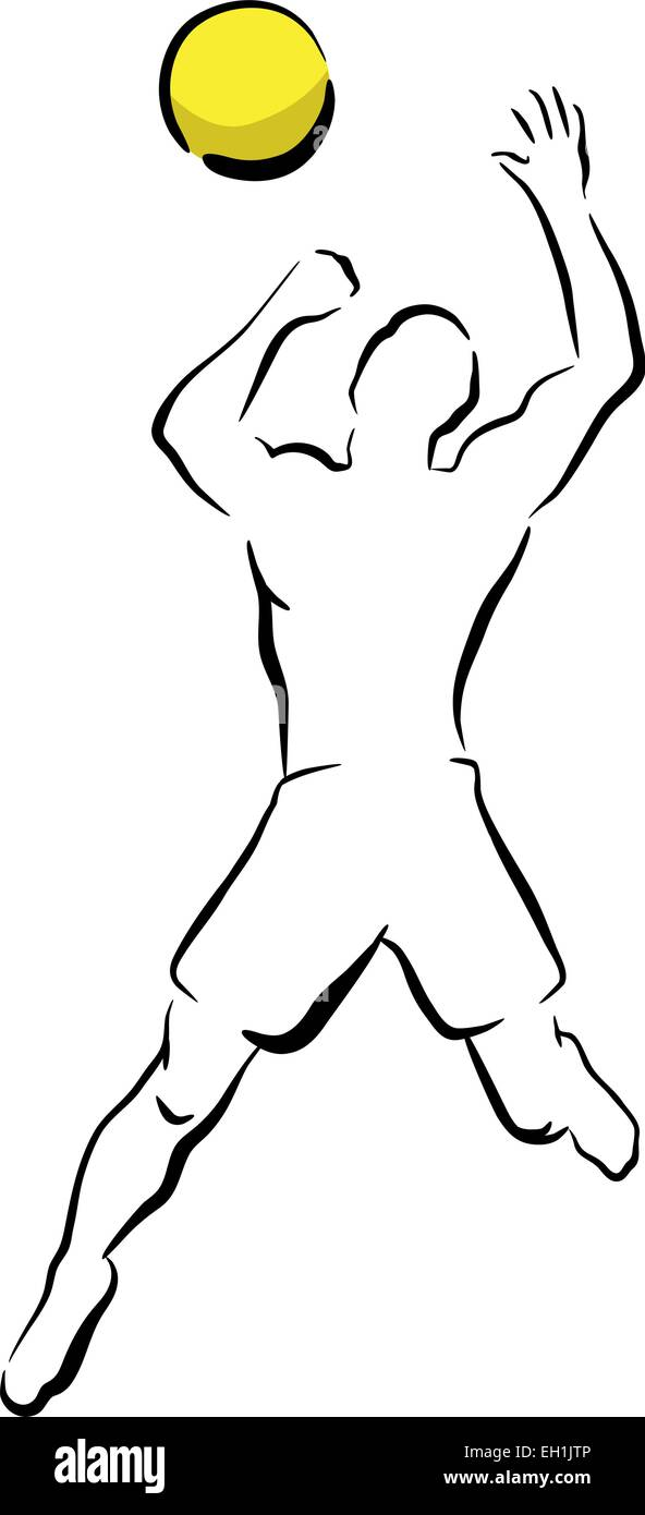 Editable vector sketch illustration of a man smashing a volleyball - Stock Image