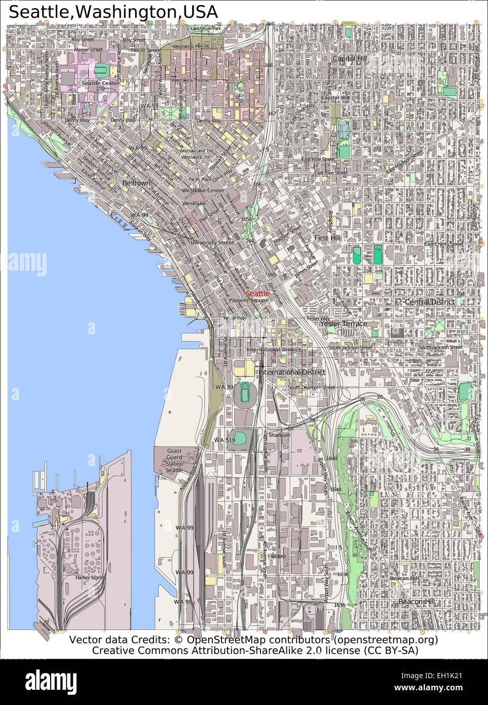 Seattle Washington USA city map Stock Vector Art & Illustration ...