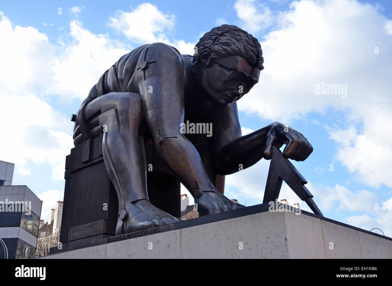 A statue of Sir Isaac Newton in the grounds of the British Library in Kings Cross, London - Stock Image