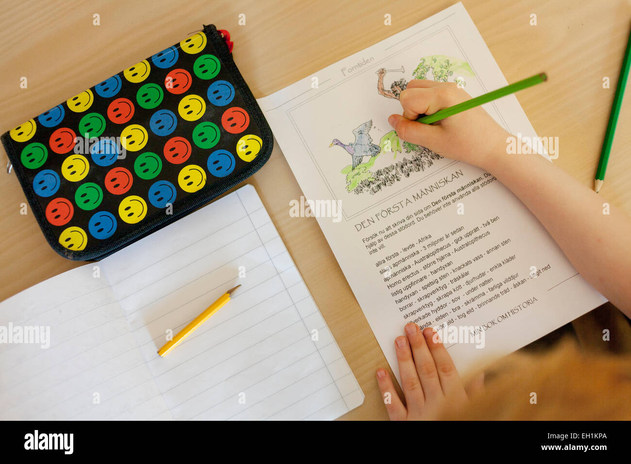 Cropped image of boy reading story book at desk in classroom - Stock Image