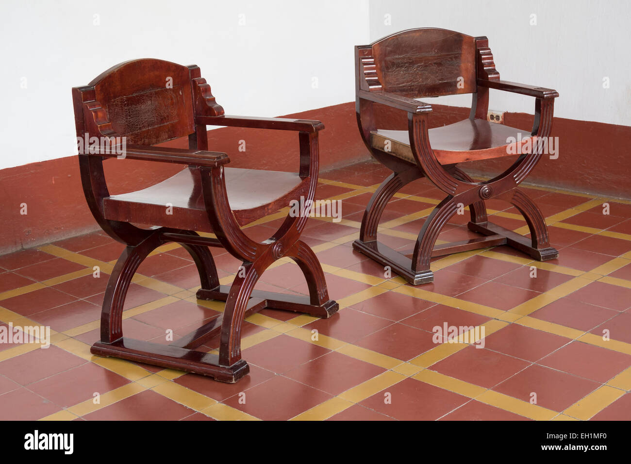 Two reproduction medieval Renaissance style chairs at the Museo de Arquitectura Colonial Trinidad Cuba. & Two reproduction medieval Renaissance style chairs at the Museo de ...