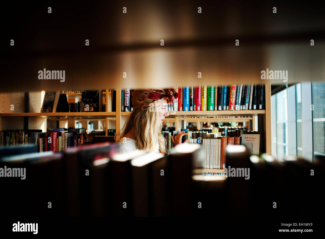 Young college student in library - Stock Image