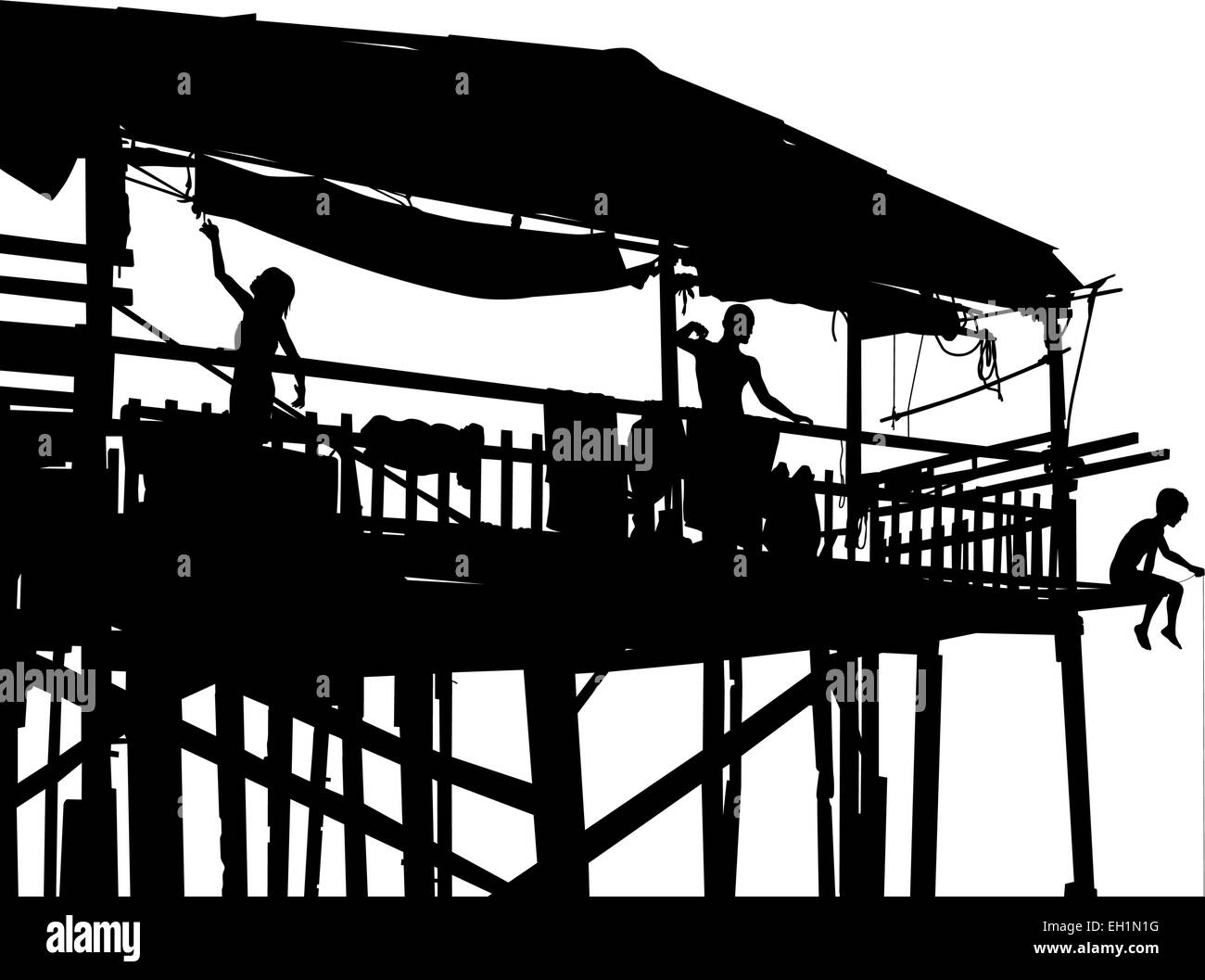Editable vector silhouette of a family in their shack on stilts with people as separate objects - Stock Image