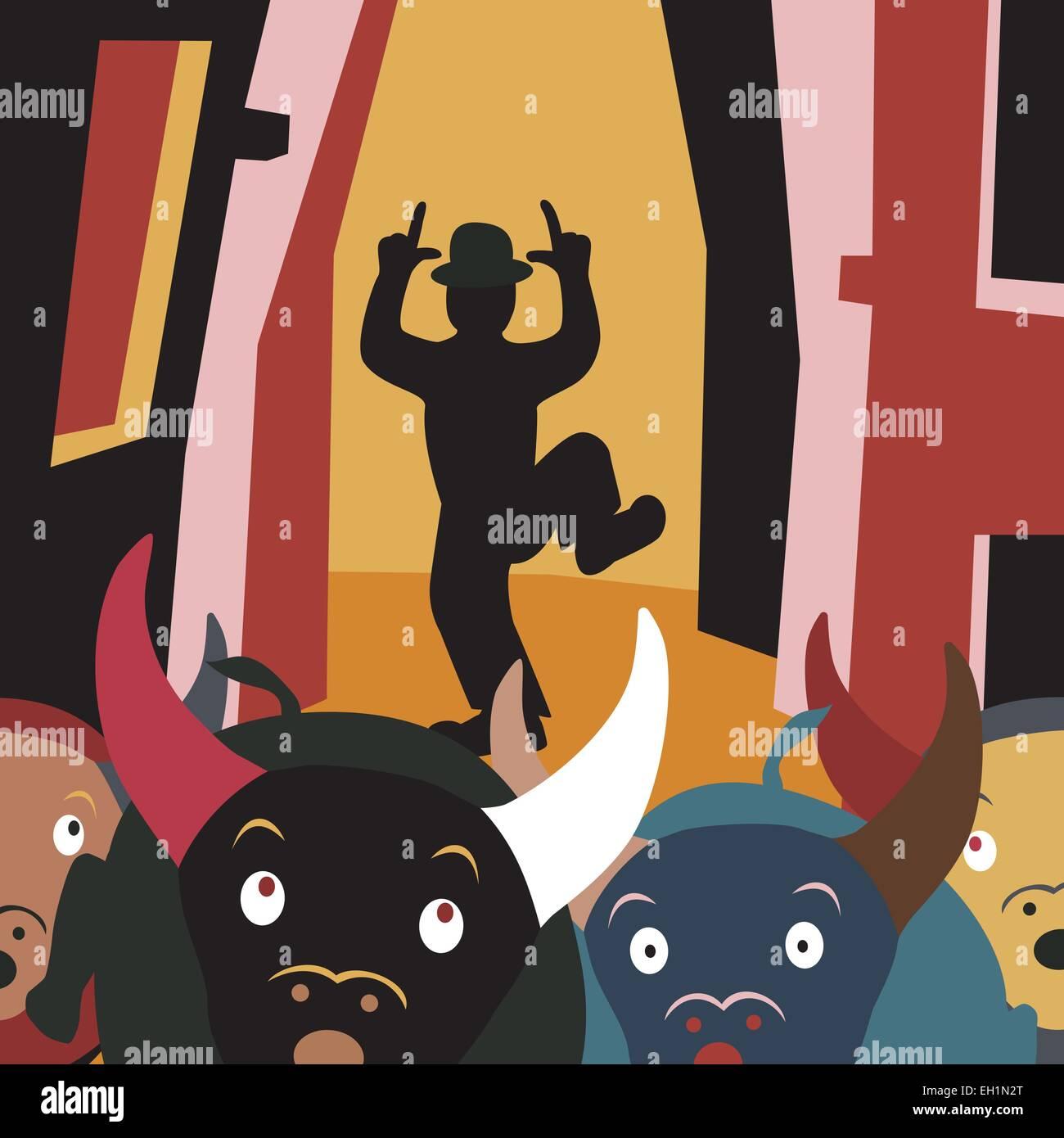 Editable vector cartoon illustration of bulls running away from a man in a street festival Stock Vector