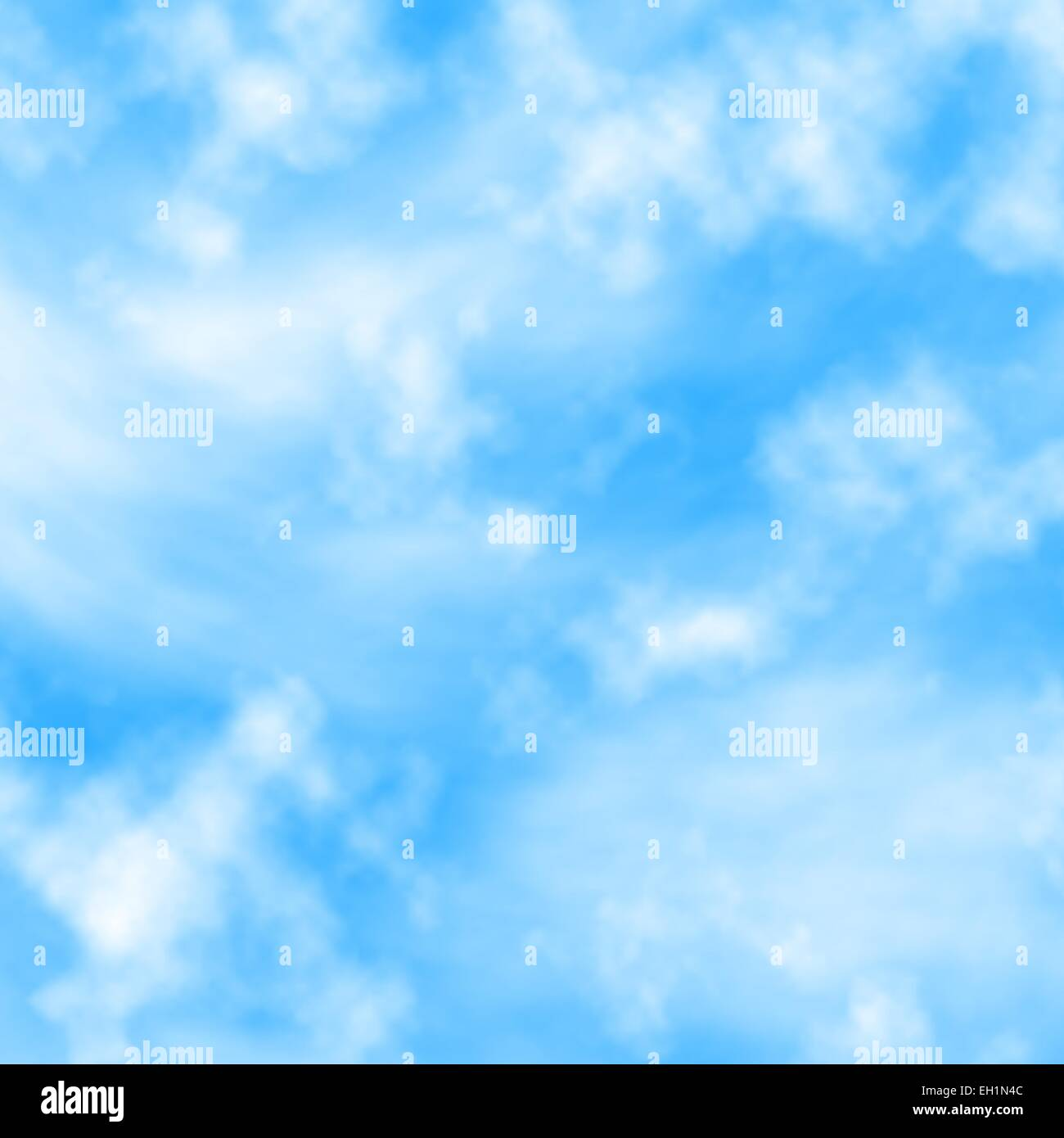 Editable vector illustration of fluffy white clouds in a blue sky made with a gradient mesh - Stock Image