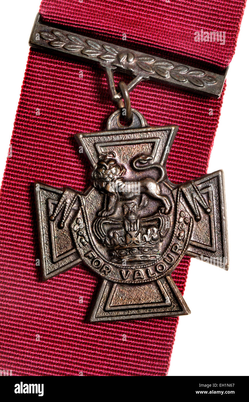 Victoria Cross medal (high quality replica) and ribbon - Stock Image