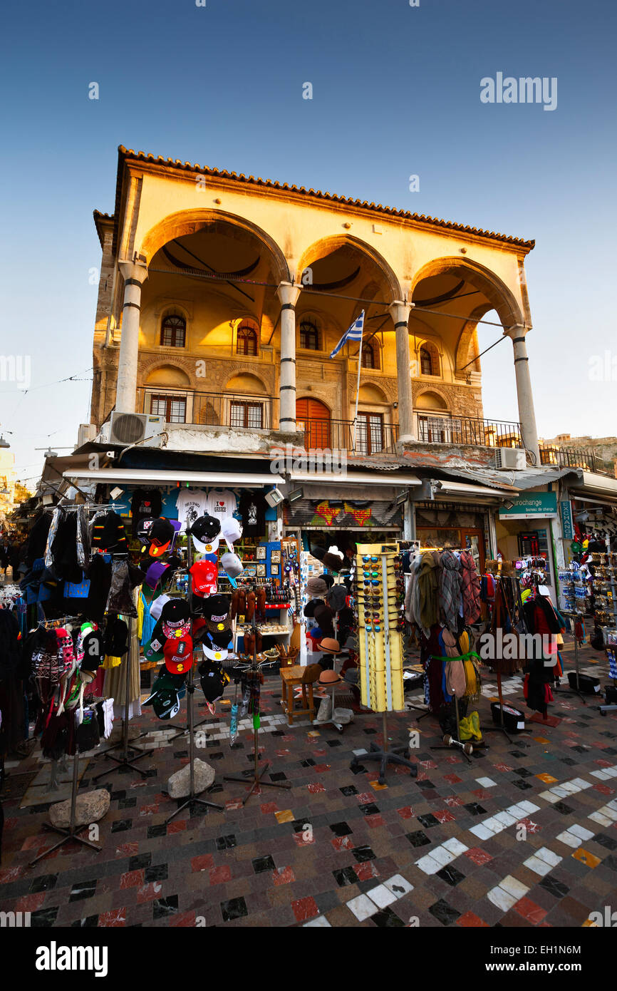 Shops and mosque in Monastiraki square, Athens, Greece - Stock Image