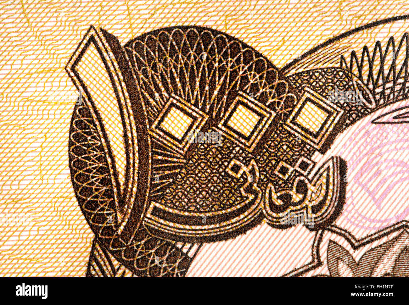 Detail from an Afghan 10,000 Afghani banknote showing the number 1,000 in  Eastern Arabic / Arabic–Indic numerals - Stock Image