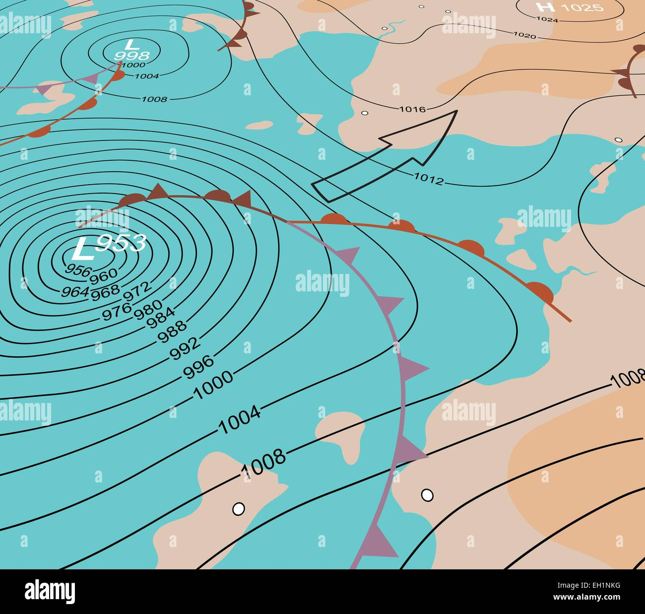Editable vector illustration of an angled generic weather map showing a storm depression - Stock Image