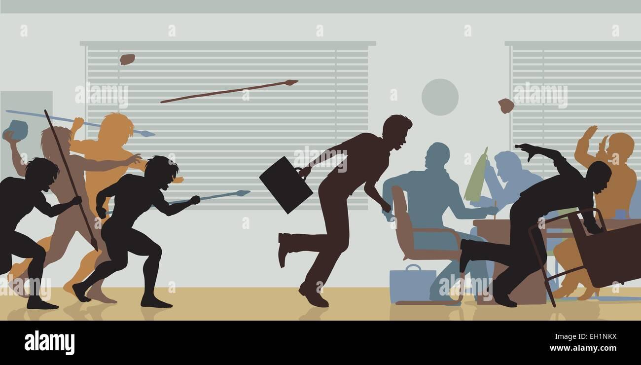 Editable vector color cutouts of cavemen attacking a business meeting - Stock Vector