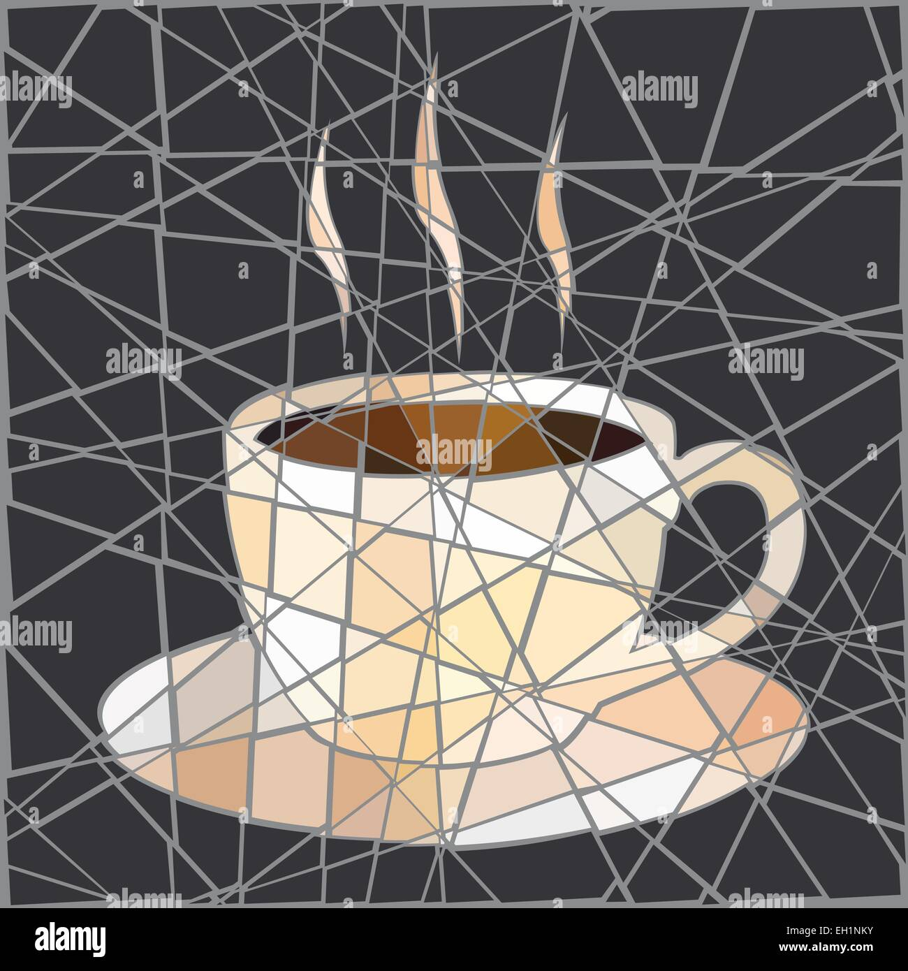 EPS8 editable vector mosaic illustration of a cup of steaming coffee - Stock Image