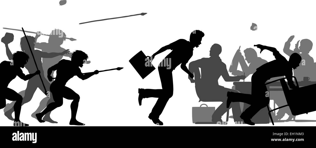 Editable vector silhouettes of cavemen attacking a business meeting with all elements as separate objects - Stock Vector