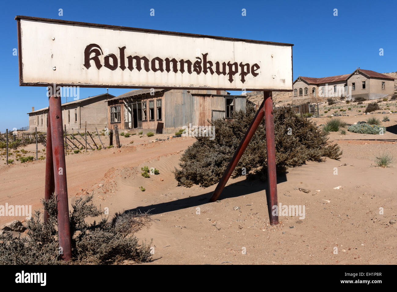 Town sign of Kolmannskuppe, former diamond town, now a ghost town, Kolmanskop, Kolmannskuppe, near Lüderitz, - Stock Image
