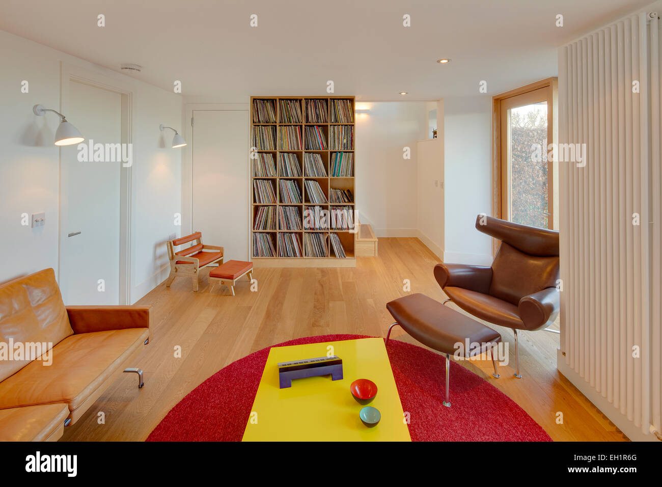 Brown Leather Armchair And Footstool In Modern Living Room, Wormit House,  Fife, Scotland