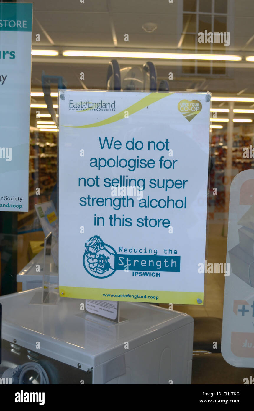 Sign apologising for not selling super strength alcohol, Co-Op, Woodbridge, Suffolk - Stock Image