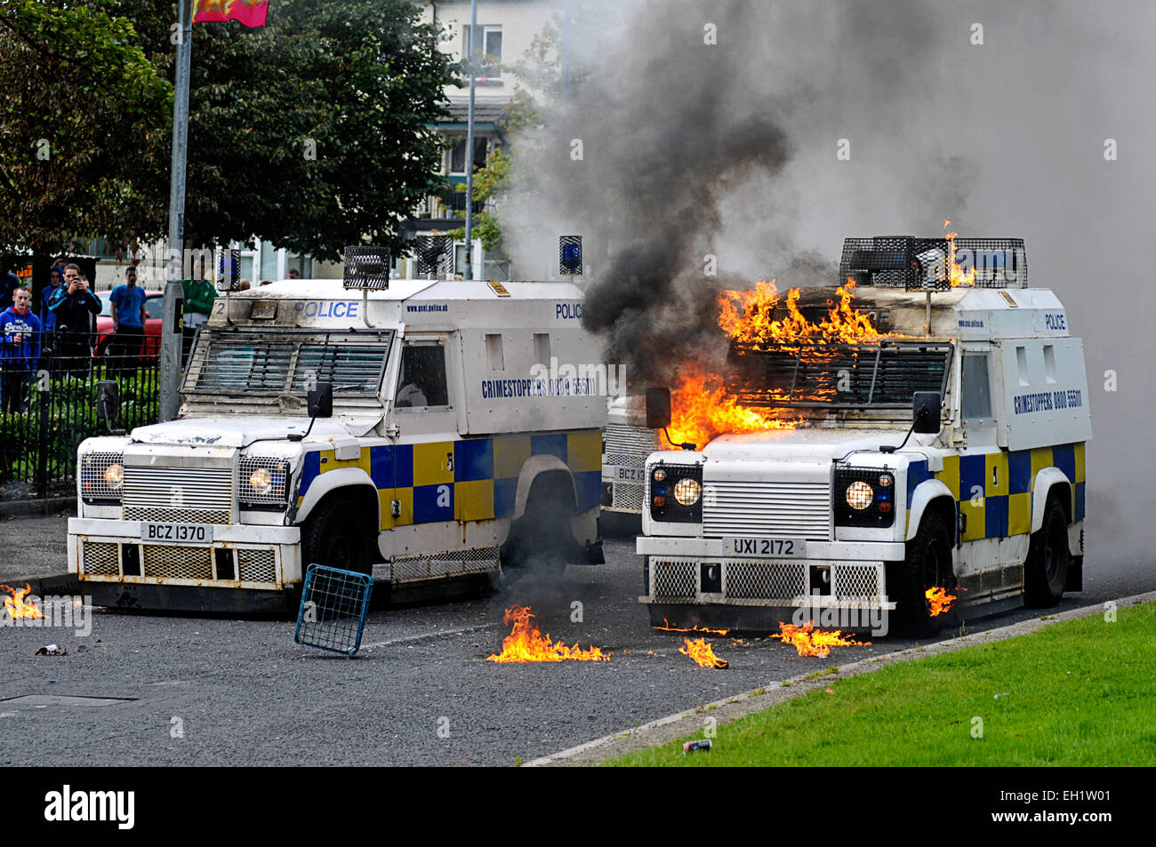 3f5018e9ea PSNI armoured vehicles set alight by petrol bombs during riots in the  nationalist Bogside