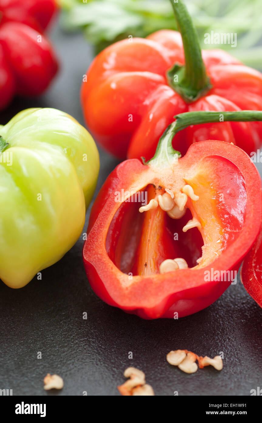 Very hot habanero chili pepper close up. Stock Photo
