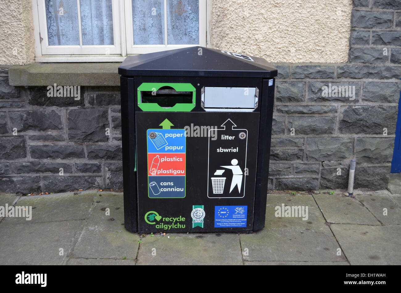 Recycling & rubbish bin, Wales - Stock Image