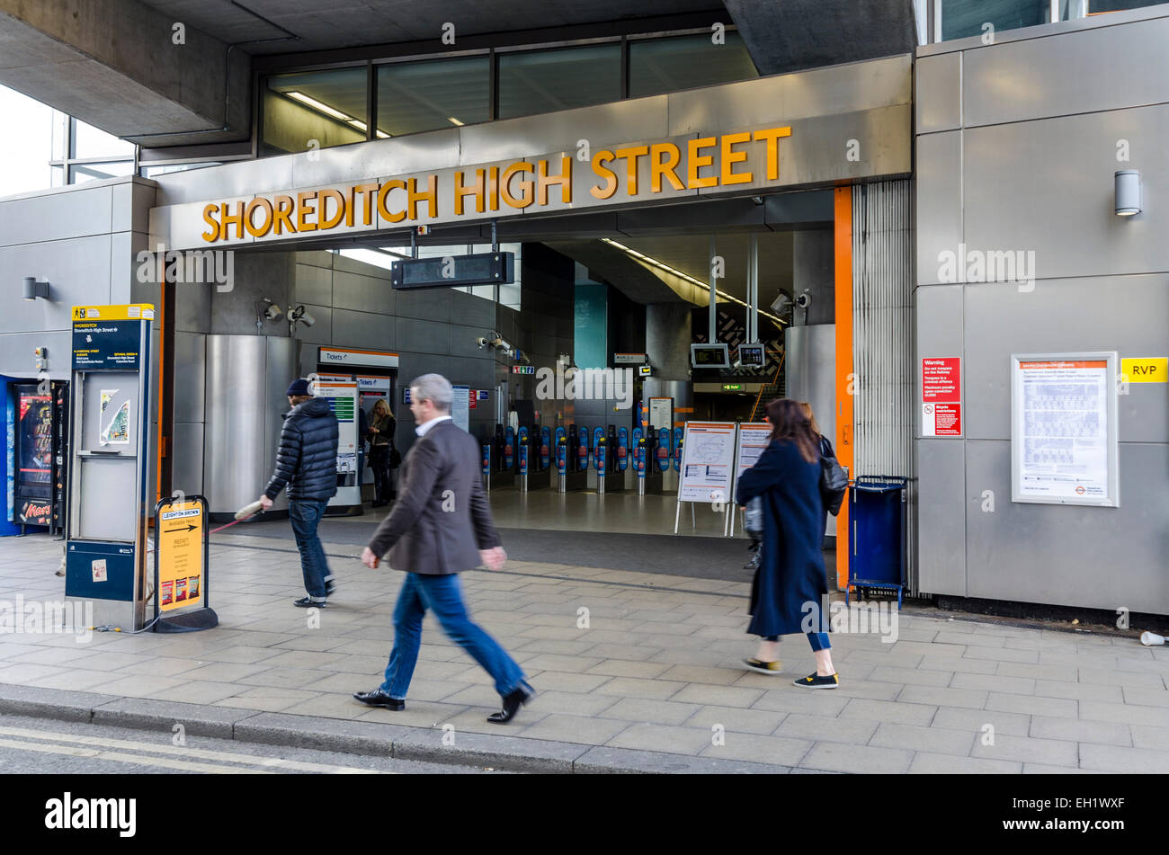 The entrance to Shoreditch High Street overground rail station, London - Stock Image