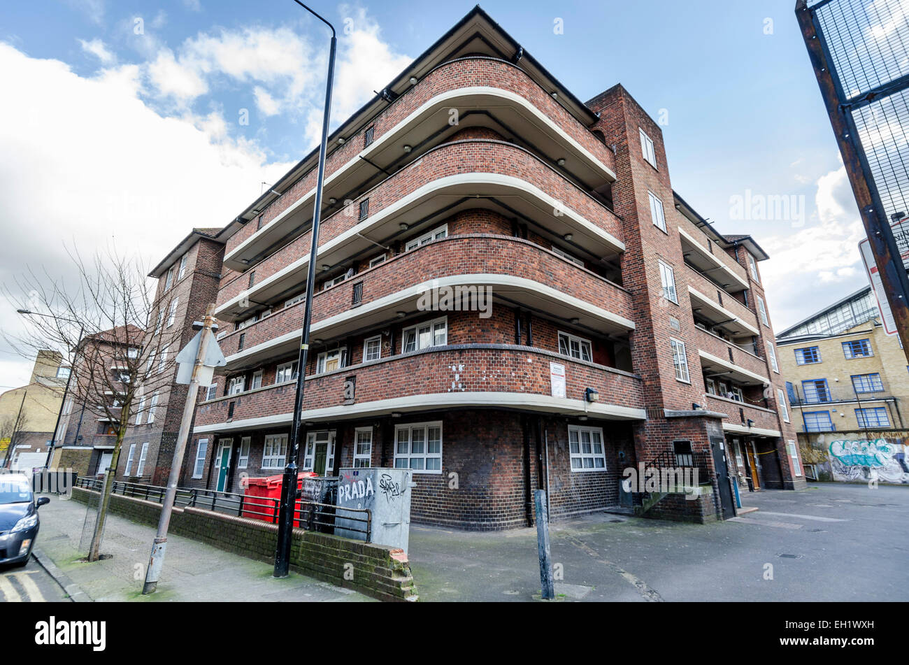 Social housing on Quaker Street in the Shoreditch area of East London - Stock Image