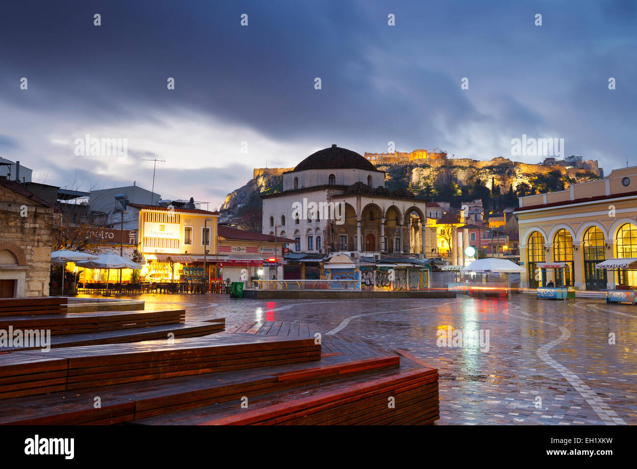 Monastiraki square early in the morning, Athens, Greece. - Stock Image