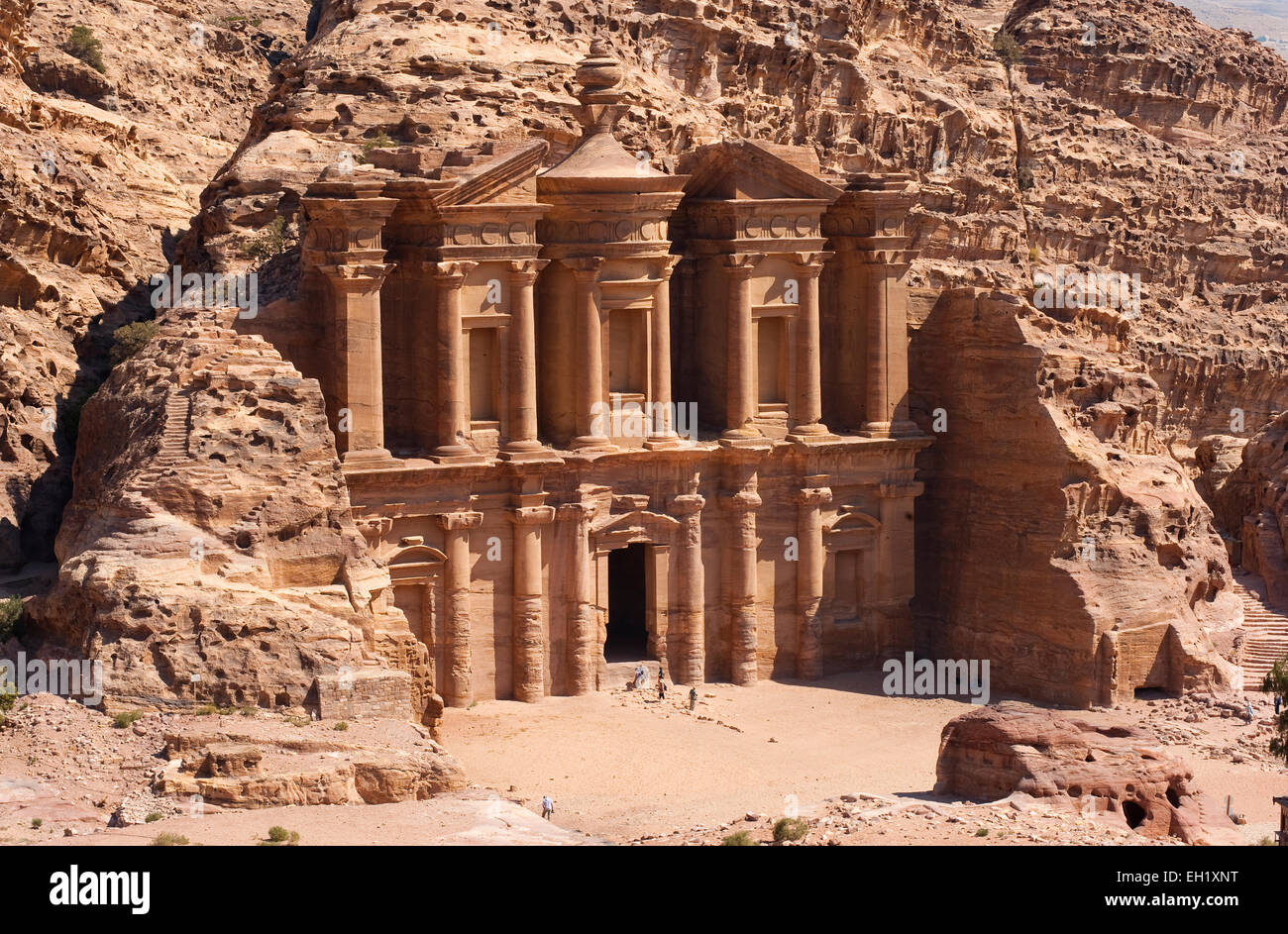 The Ad Deir monastery in Petra in Jordan - Stock Image