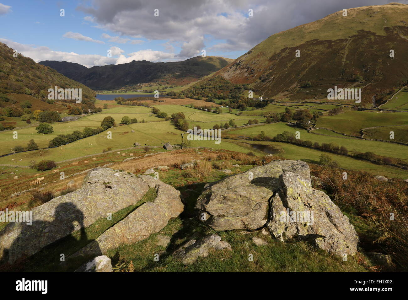 Hartsop valley from middle dodd - Stock Image