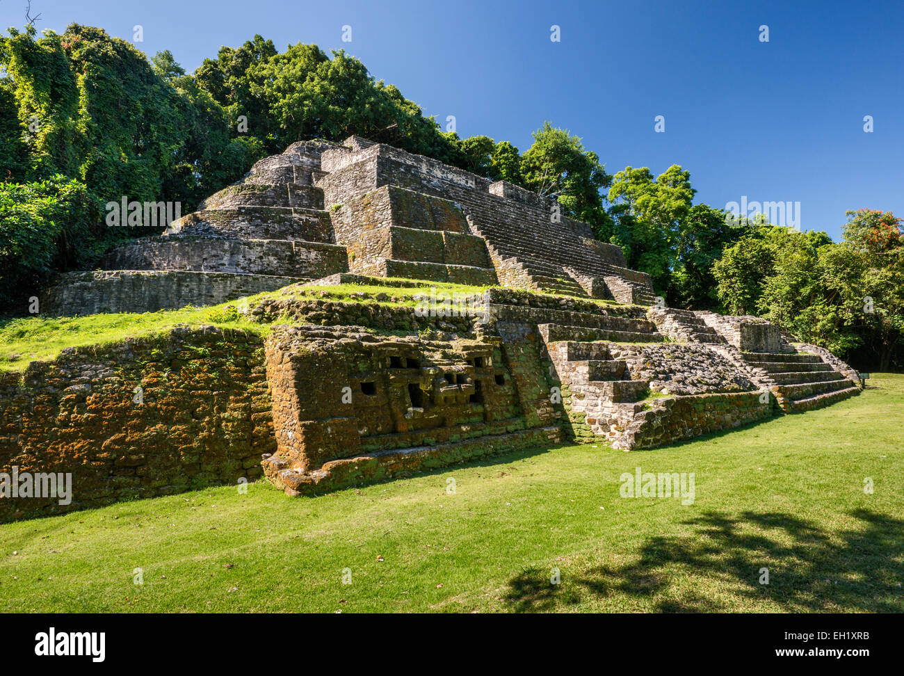 Jaguar Temple at Lamanai, Maya ruins, rainforest near Indian Church village, Orange Walk District, Belize - Stock Image