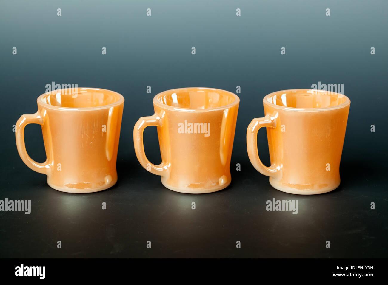 Vintage Bright Orange Anchor Hocking Fire King Jadeite D Handle Cups ...