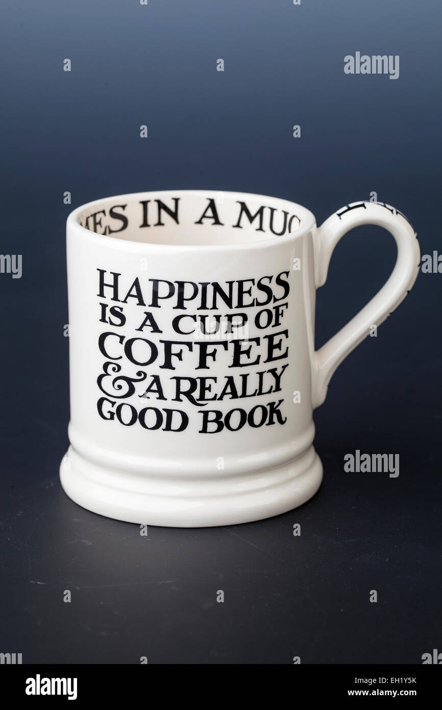 Emma Bridgewater Toast & Marmalade 'Happiness' Cup, Text Design - Stock Image