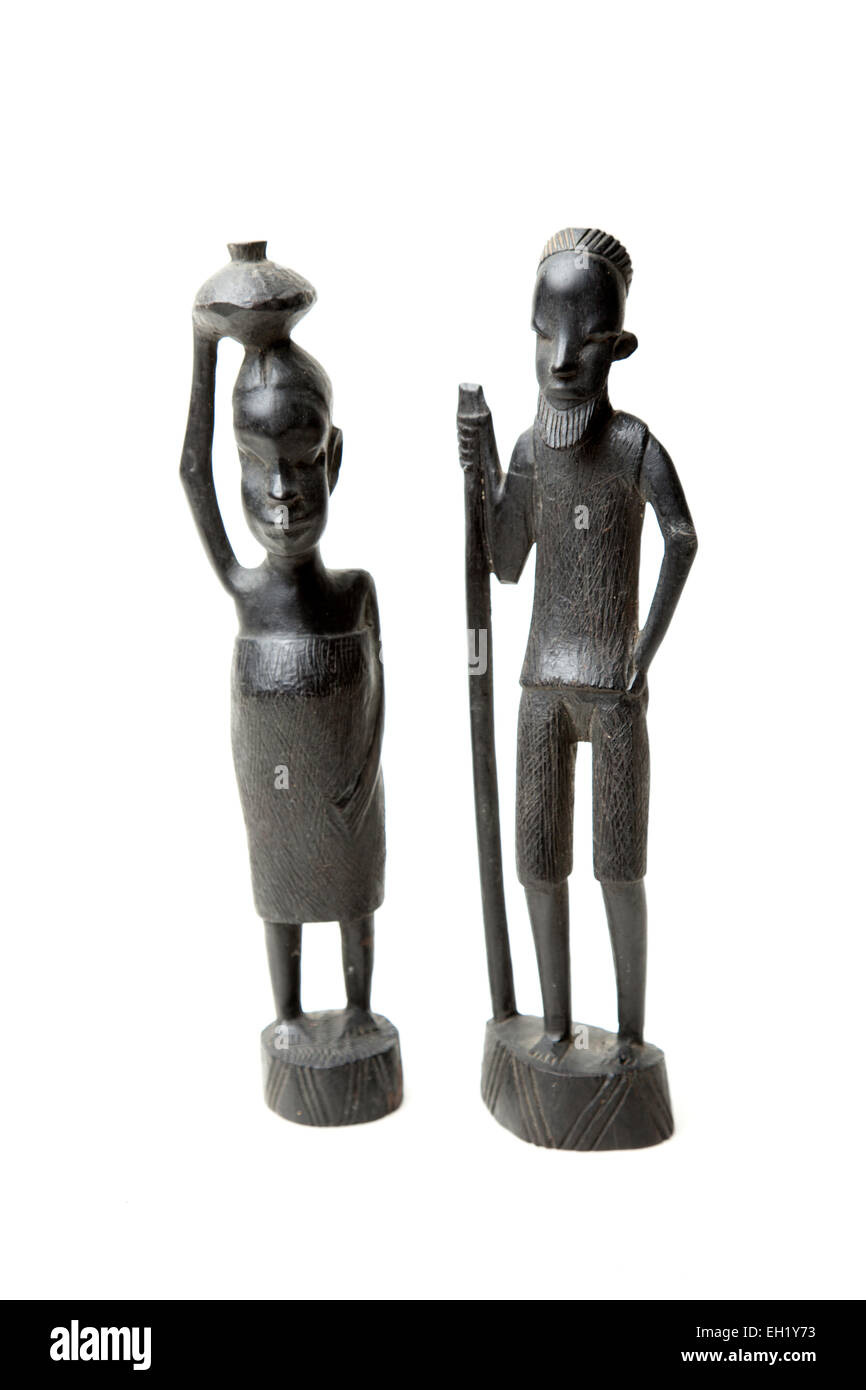 African carving of a old man and woman. - Stock Image