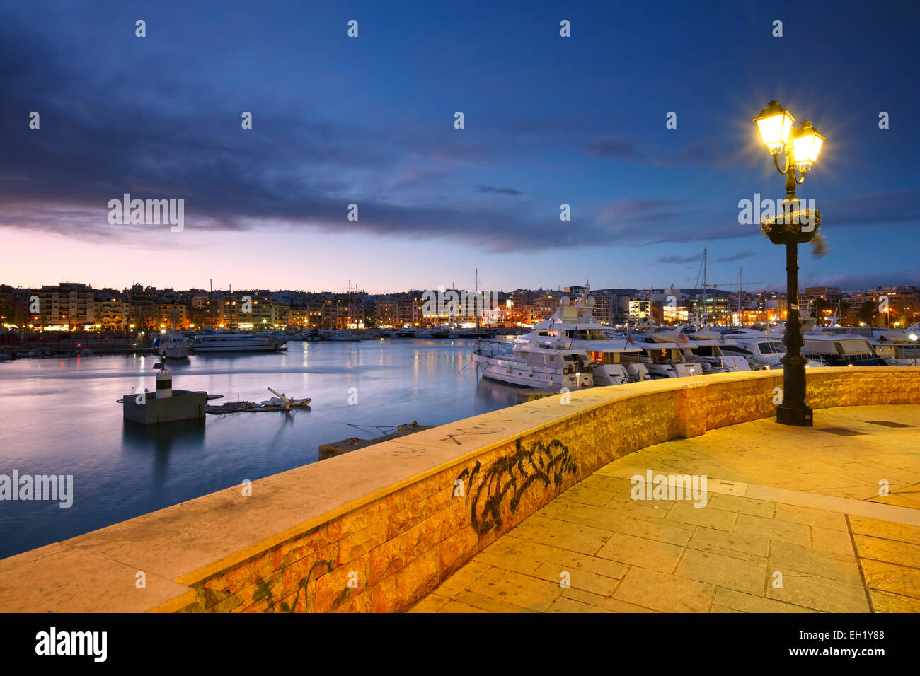 Zea Marina as seen from the promenade, Athens, Greece. - Stock Image