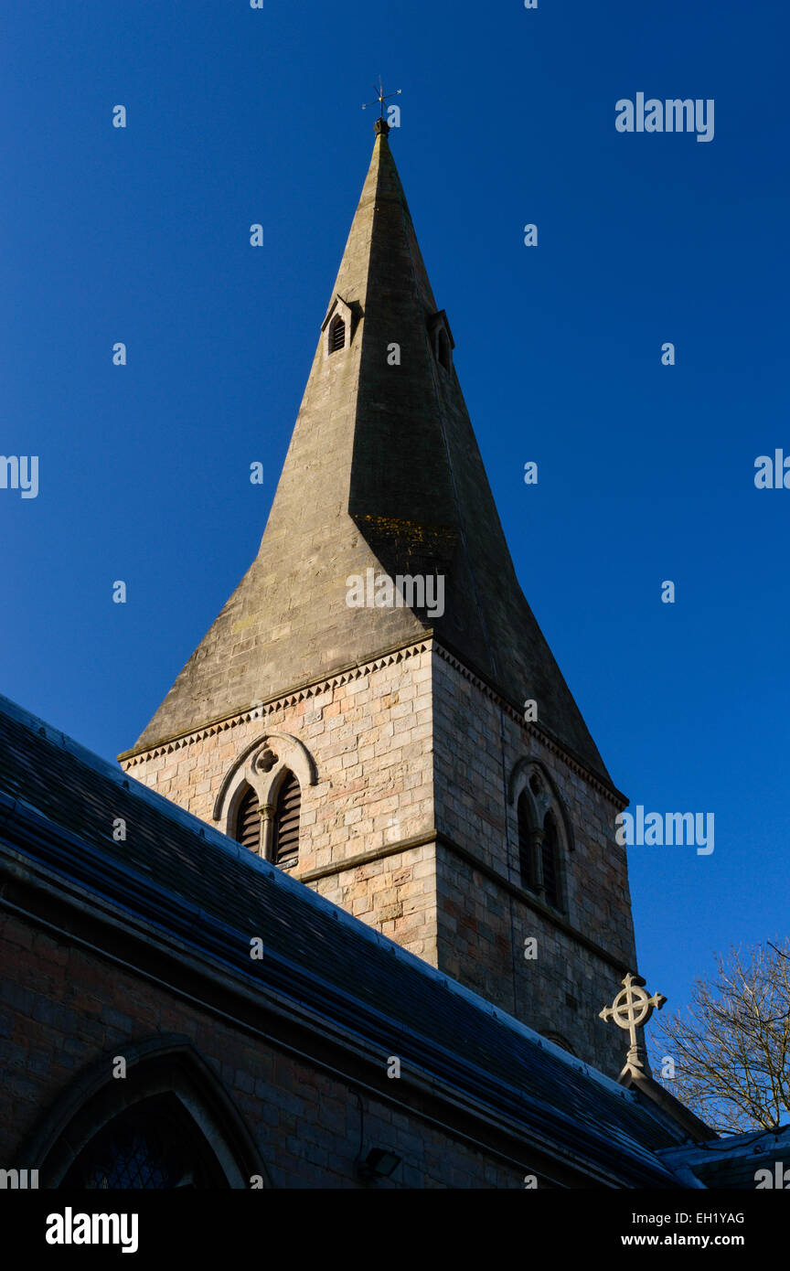 The spire of St Wilfrid's Church in Kirkby In Ashfield, Nottinghamshire, England on 2nd March 2015 - Stock Image