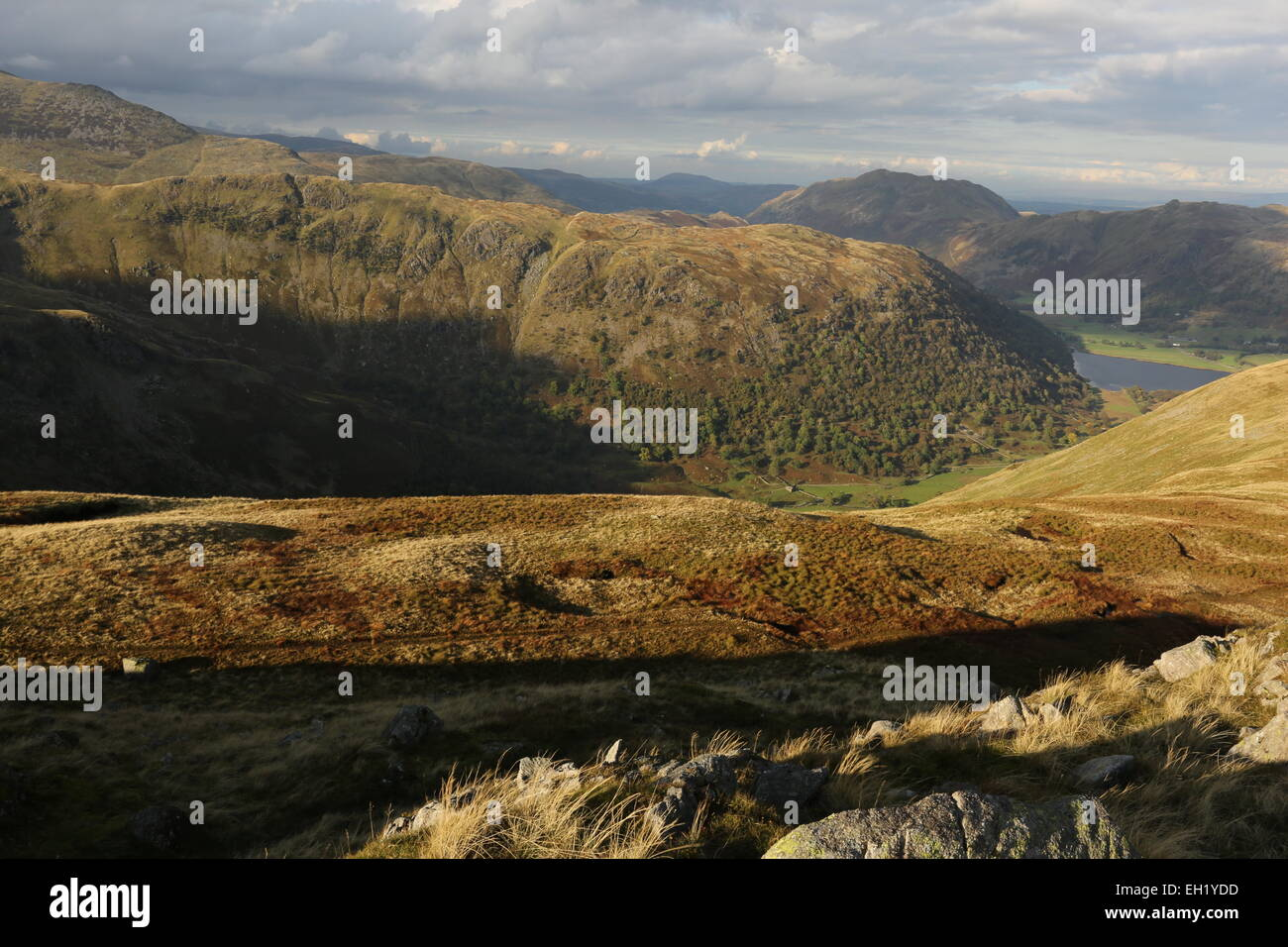 Hartsop above how from Little Hart Crag Eastern fells. Little Hart crag, Hartsop above how brotherswater panorama - Stock Image