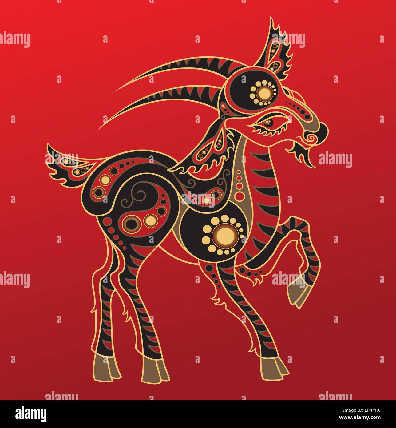 Chinese horoscope. Year of the goat - Stock Image